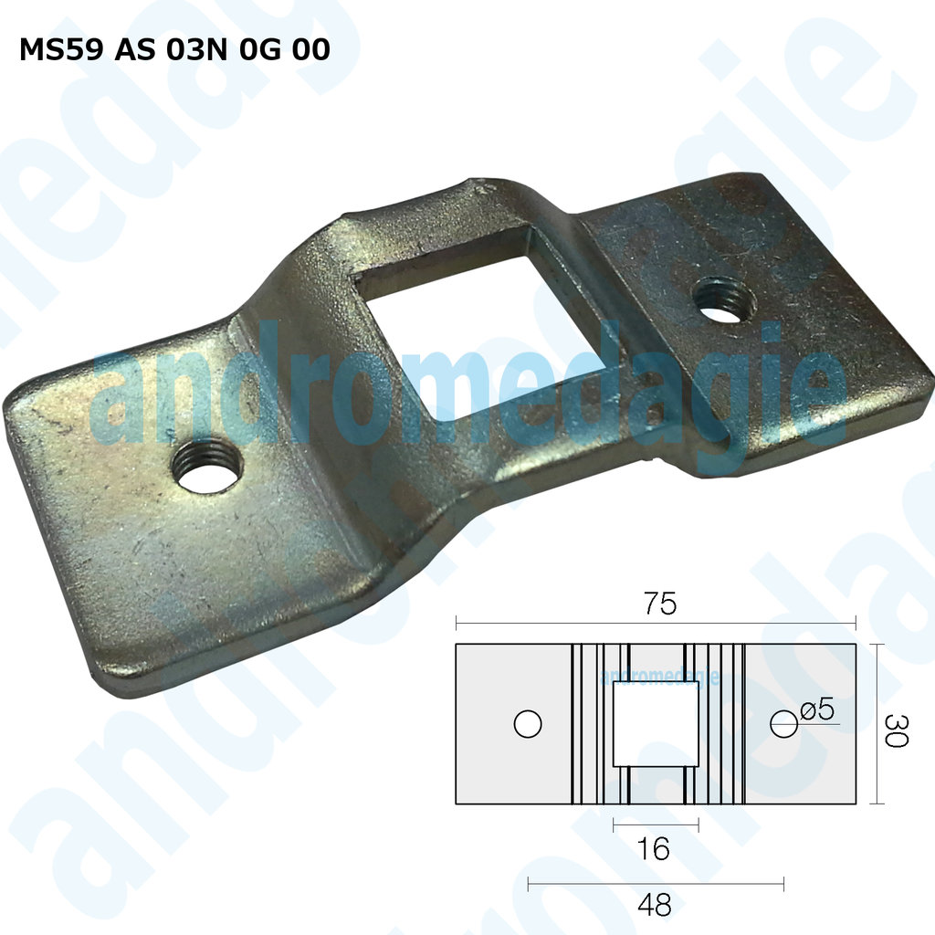SUPPORT BRACKET WHEELBASE 48 MM SQUARE 16 MM MAX 100NM GALVANIZED